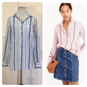 J. Crew Classic popover shirt striped cotton gauze